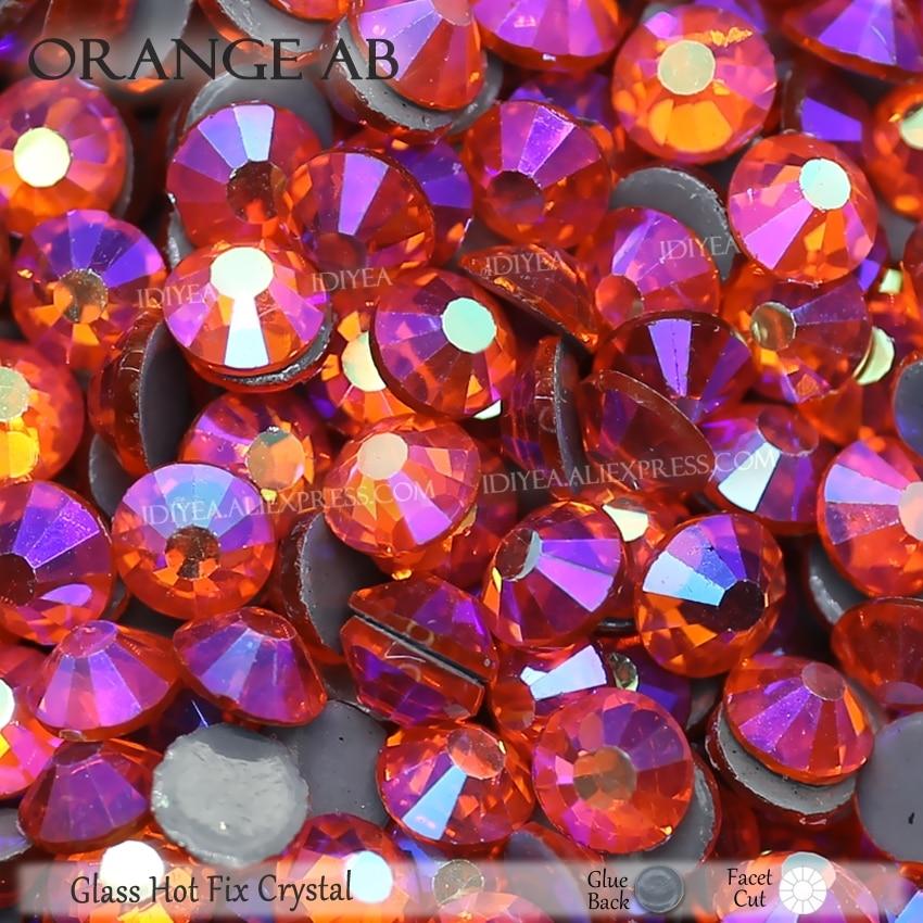 Оранжевые стразы AB с плоской задней стороной, горячей фиксации, кристалл страз, стеклянный камень для рукоделия, свадебные платья, сверкающ...