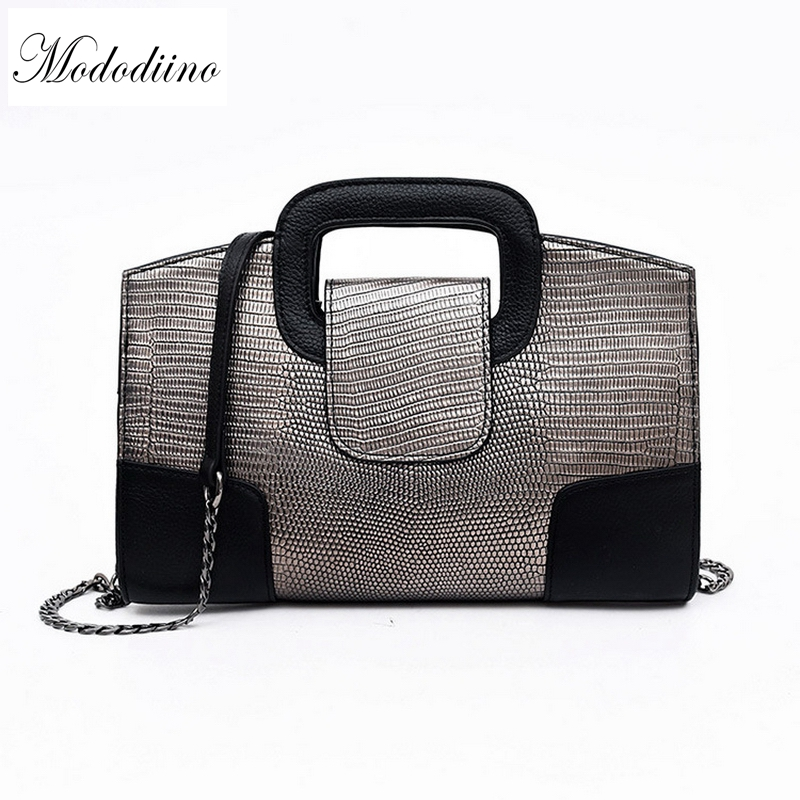 Mododiino Snake Print Luxury Handbags Women Bags Designer Genuine Leather Ladies Bags Clutch Europe Style Shoulder
