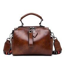 2019 Soft Leather Boston Bags Retro Women Handbags Vintage Crossbody for Oil Wax Shoulder
