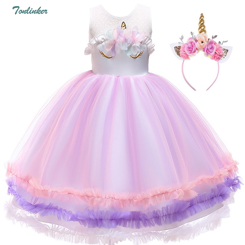 Princess Girls Unicorn Costume Lace Mesh Flowers Unicorn Dress Up For Children Christmas Wedding Party Tutu Dresses 2-8 Years