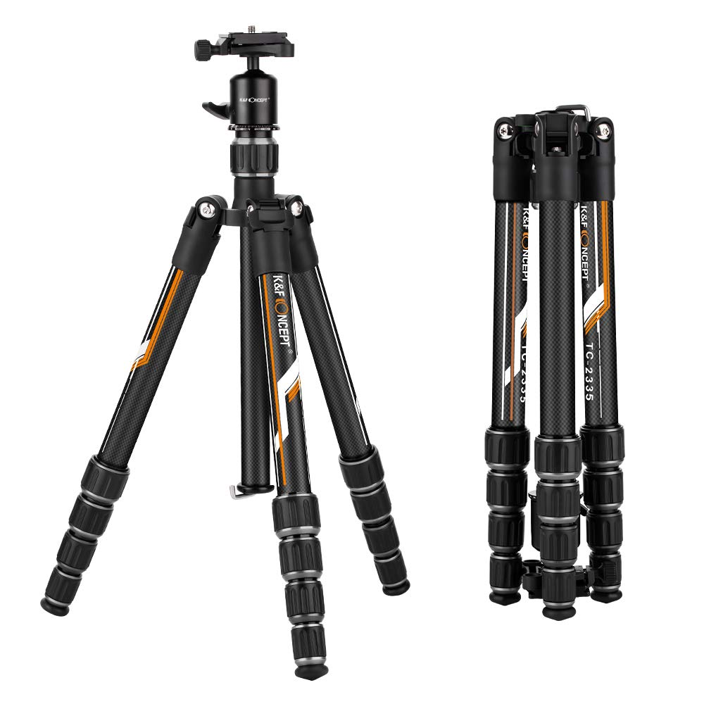 K&F Concept Professional Carbon Fiber TC2335 Camera Tripod With 360 ° Ball Head Quick Release Plate For DSLR Nikon Canon Camera