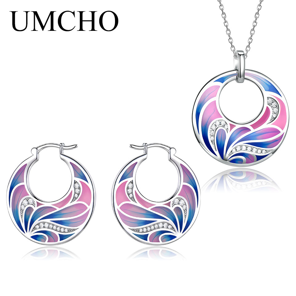UMCHO 925 Sterling Silver Emerald Jewelry Sets for Women Gemstone Ring Pendant Necklace Women Wedding Party Gift Jewelry in Jewelry Sets from Jewelry Accessories
