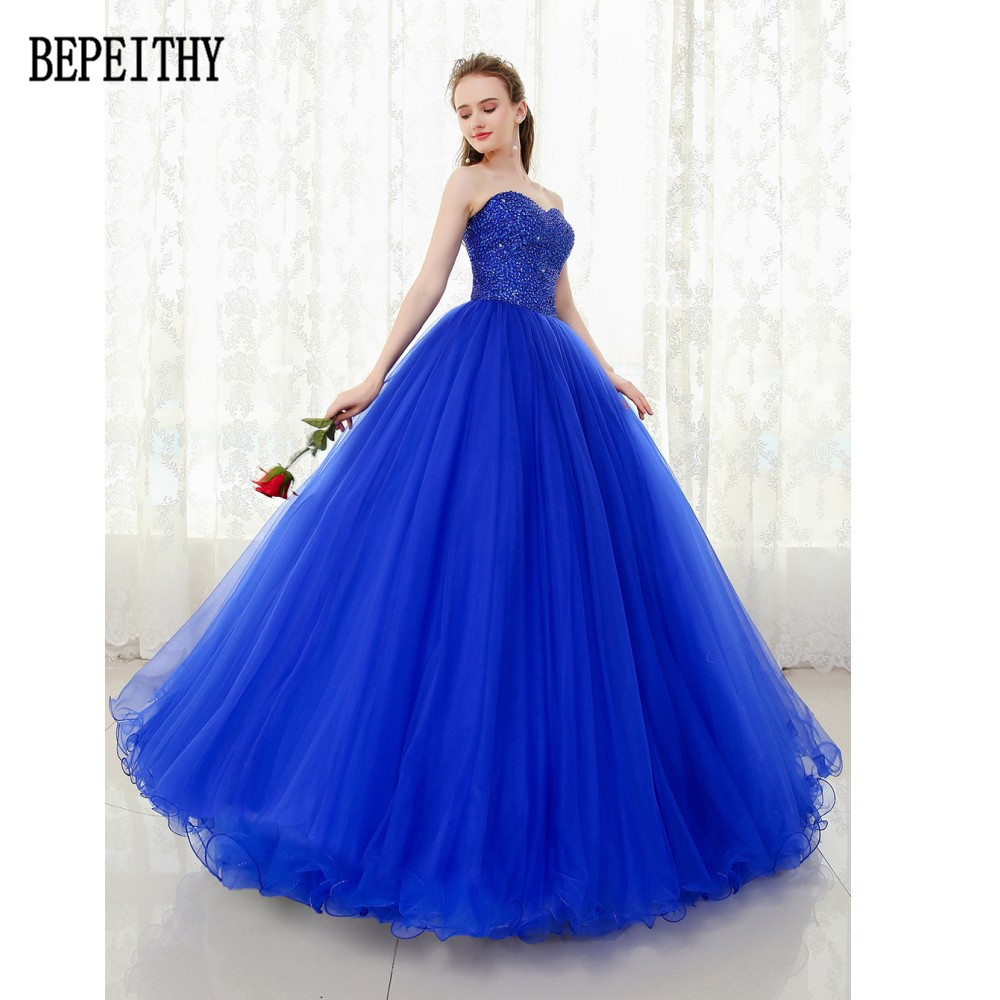 BEPEITHY 2019 Custom Made Sweetheart Tulle Floor-Length Beads Sequins Ball  Gown Royal Blue Quinceanera Dress Evening Dress f2b40e43d653