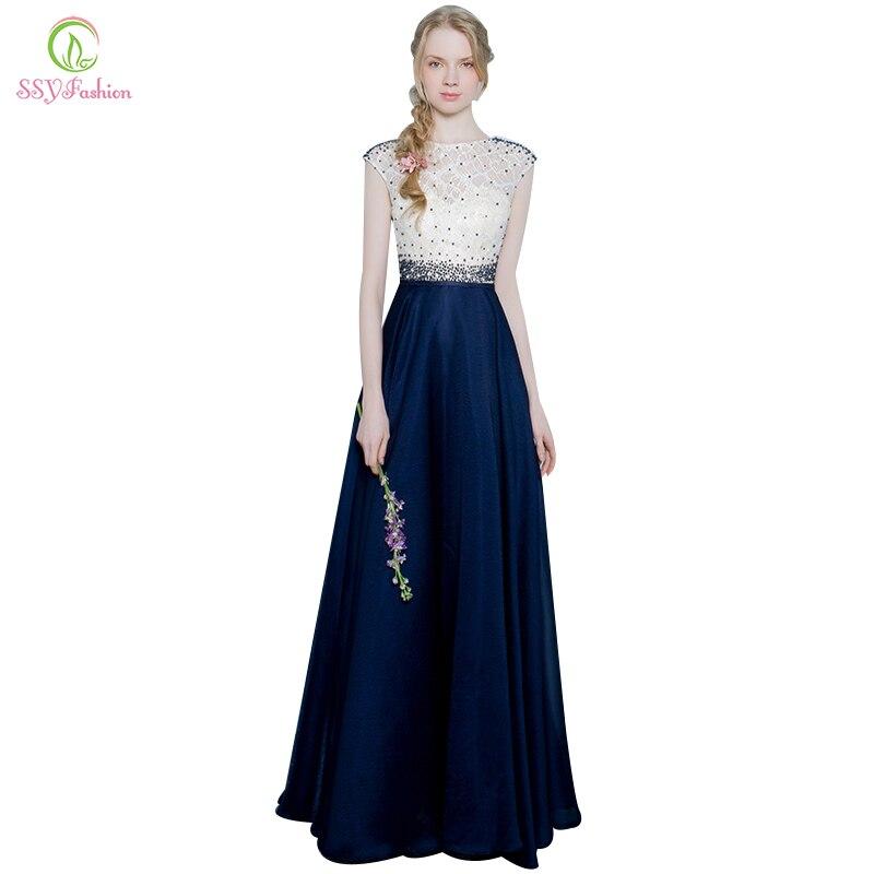 Zielsetzung Robe De Soiree Abendkleid Ssyfashion Splice Blau Mit Beige Spitze Sleeveless Elegante Bankett Lange Prom Kleider Abendkleider