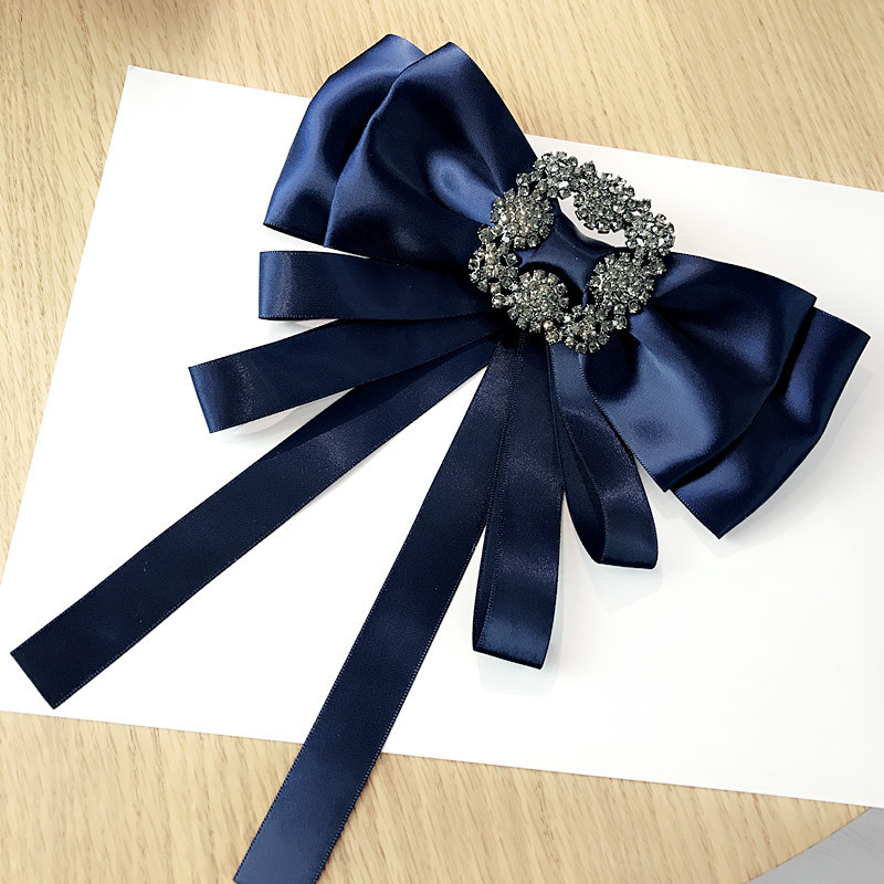 Korea Handmade Vintage Solid Satin Bowknot Rhinestone Shirt Pins Neck Bow Tie Bowknot Accessories Fashion Jewelry YHNLB021F in Brooches from Jewelry Accessories