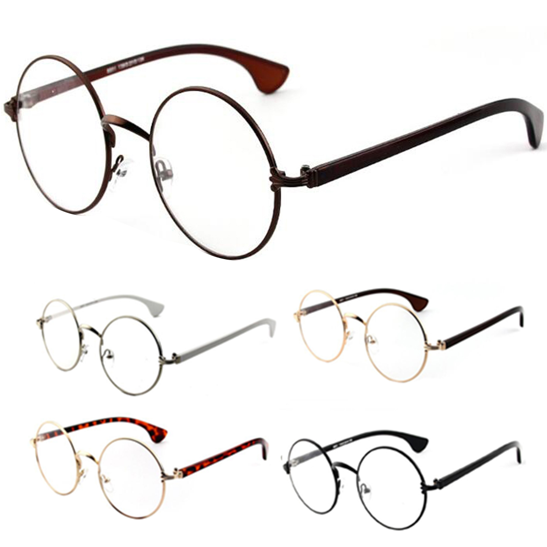 웃 유Trendy Round Clear Lens Eyeglasses Spectacles Metal Frame ...