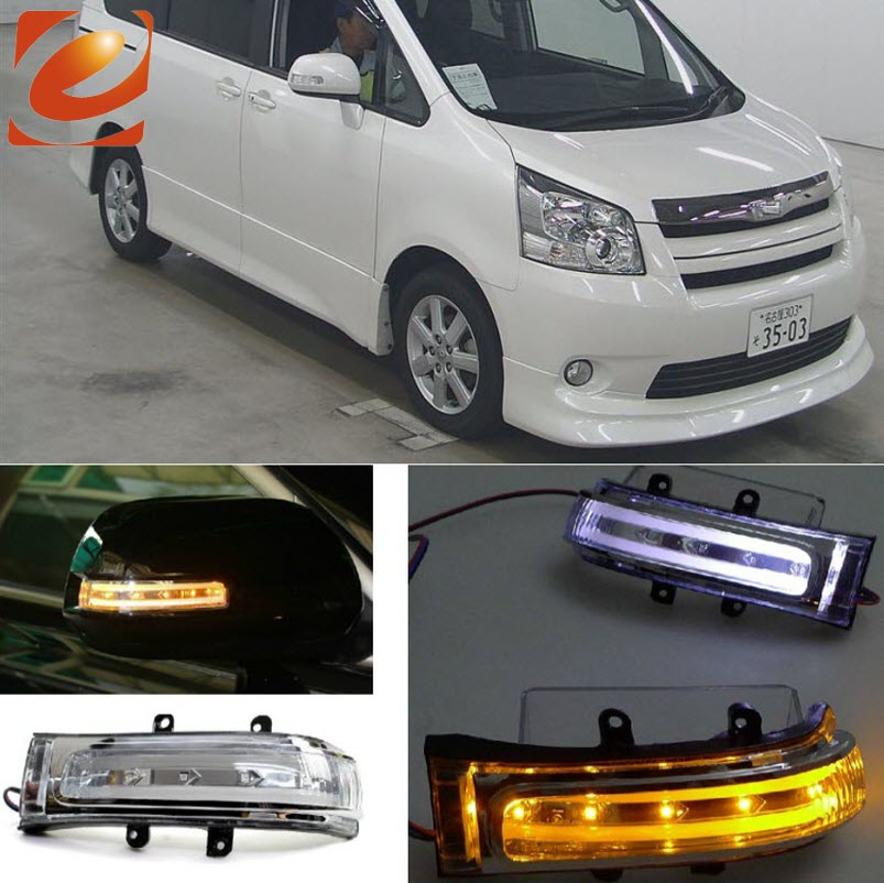 eeMrke For Toyota Noah 2007 2008 2009 2010 2011 2012 Side Rear View Mirror Lights LED DRL Turn Signals car rear trunk security shield cargo cover for jeep compass 2007 2008 2009 2010 2011 high qualit auto accessories