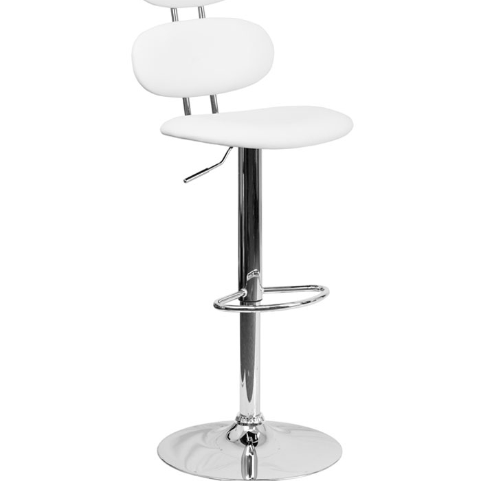 Flash Furniture Contemporary White Vinyl Adjustable Height Barstool Footrest with Chrome Base