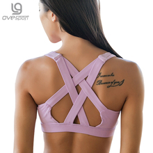 Ovesport Sexy Cross Backless Sports Bra Women Fitness Tank Top Professional Quick Dry Padded Shockproof Yoga Bras Running Vest
