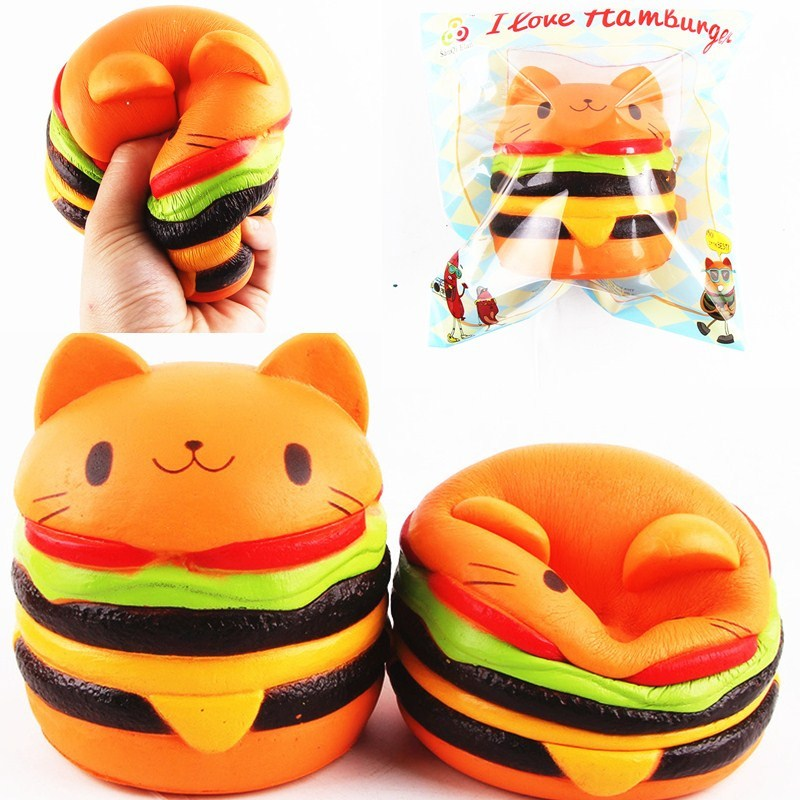 11*10CM Sanqi Elan Squishying Cat Burger Slow Rising Soft Animal Collection Gift Decor Toy Packaging