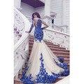 Nuevo Anuncio Azul Appliqued Sirena Vestido de Noche Largo 2017 de Longitud de Tul Vestido de festa Vestidos Formales Vestidos