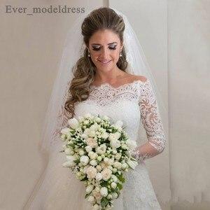 Image 4 - Vestidos De Noiva suknie ślubne syrenka długie rękawy koronkowe aplikacje zroszony Sweep pociąg Plus rozmiar Off ramię suknia ślubna 2020
