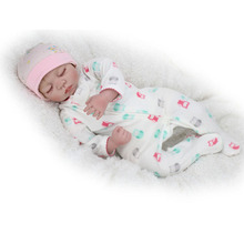 22inch Real Lifelike Newborn Dolls Silicone Reborn Baby Girl Sleeping Fake Infant Nursery Training Toys