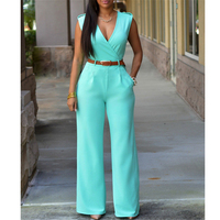 Hitmebox Women Sleeveless Maxi Overalls Belted Wide Leg Jumpsuit 15 Colors S XXL Fashion Long Pants