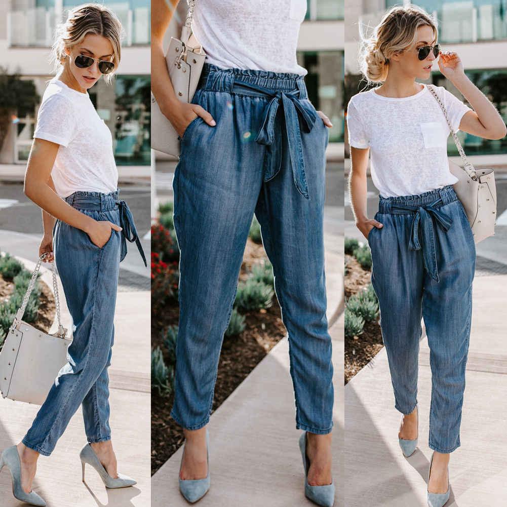 3f197f929f99c 2018 New Brand Women Drawstring Harem Pants Casual Elastic High Waist  Office Denim Pencil Trousers