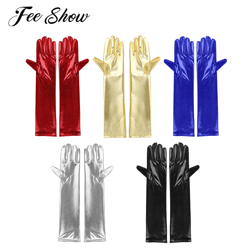 1 Pair Women Adult Fashion Cosplay Gloves Full Finger Long Cosplay Gloves Shiny Metallic Party Evening Clubwear Gloves Mittens