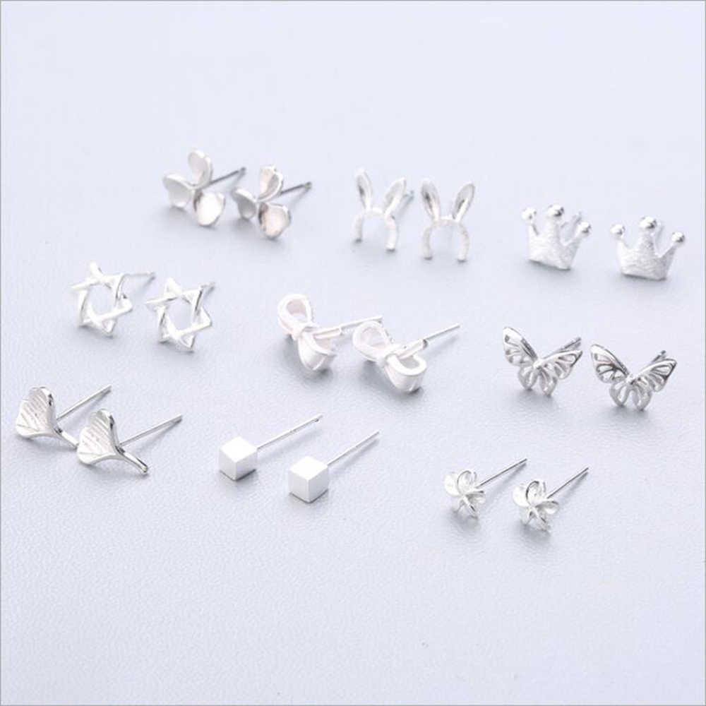 XIYANIKE Hot Sale Cute Animal Stud Earrings 925 Sterling Silver Ear Needle Simple Fashion Geometry Earrings For Women Gift 37-54