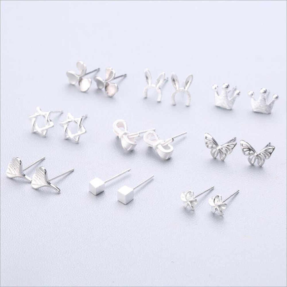 XIYANIKE Hot Sale Cute Animal Stud Earrings 925 Sterling Silver Ear Needle Simple Fashion Geometry Earrings For Women Gift 37-54
