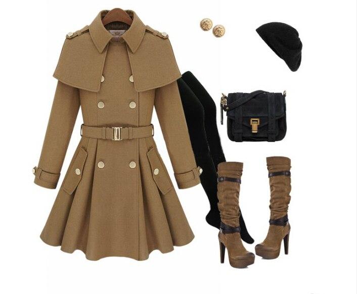 Новое зимнее корейское модное двубортное Женское шерстяное пальто в британском стиле 2 цвета