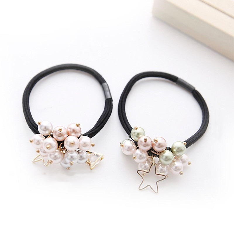 Girls Pearl Bead Scrunchies Elastic Hair Bands Ponytail Holder Headwear Headband Hair Styling Tools Hair Accessories