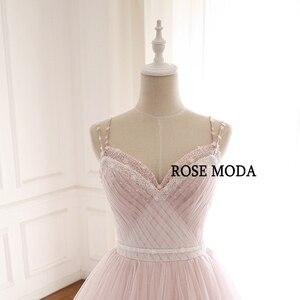 Image 4 - 로즈 Moda 화려한 더스티 로즈 핑크 웨딩 드레스 V 목 레이스 웨딩 드레스와 꽃 진짜 사진