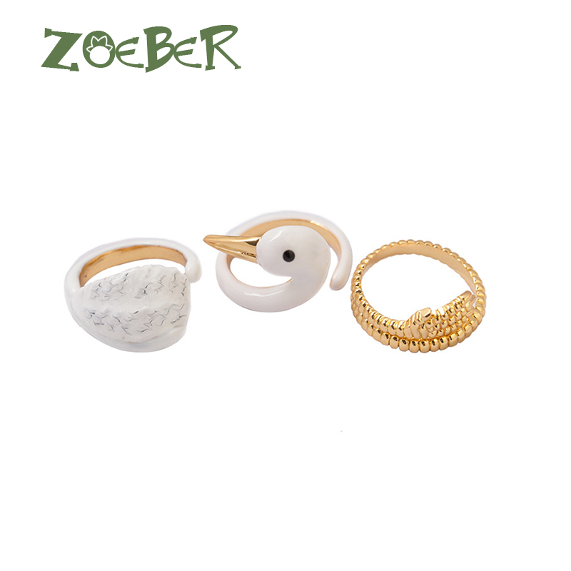 Zoeber Fashion Animal Ring 3D Enamel Glaze White Swan Finger Ring Animal Finger Ring For Young Girl Women Adjustable Ring RJ2110 каркас relisan 170х70 гл000009343