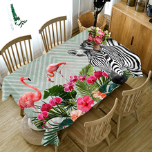 цена Customize 3D Tablecloth Red Flamingo Zebra Pattern Dustproof Table cloth Rectangular Round Thicken Polyester Cotton Table Cover