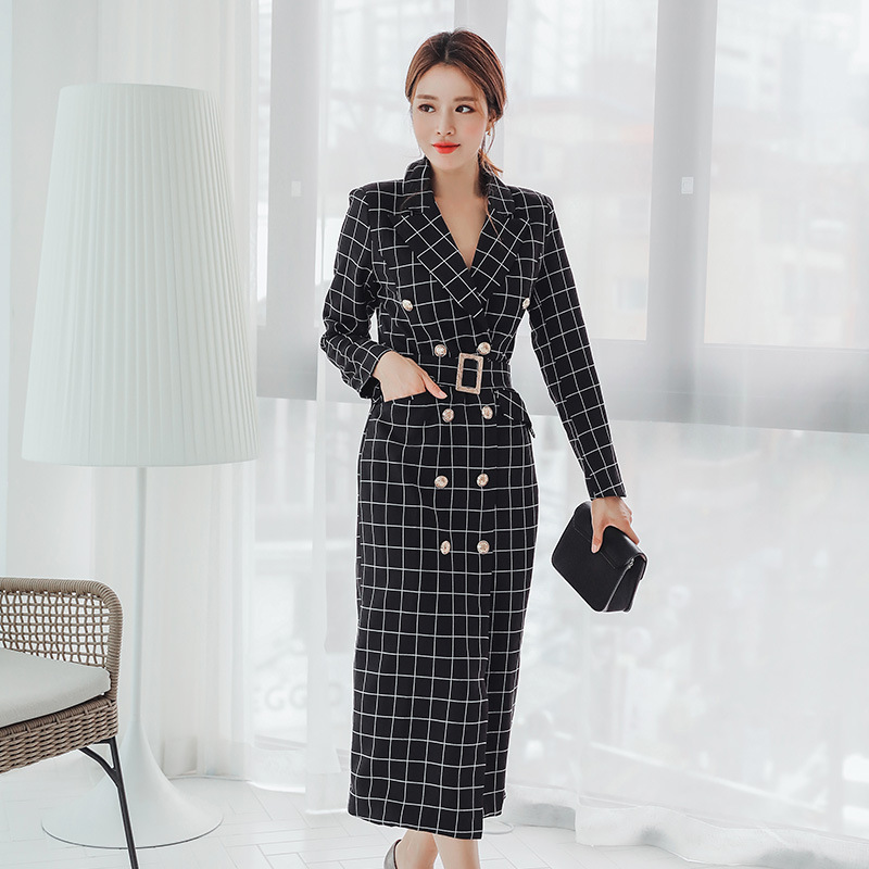 Fashion women comfortable warm plaid long coat new arrival high quality temperament outerwear fresh holiday outdoor trend   trench