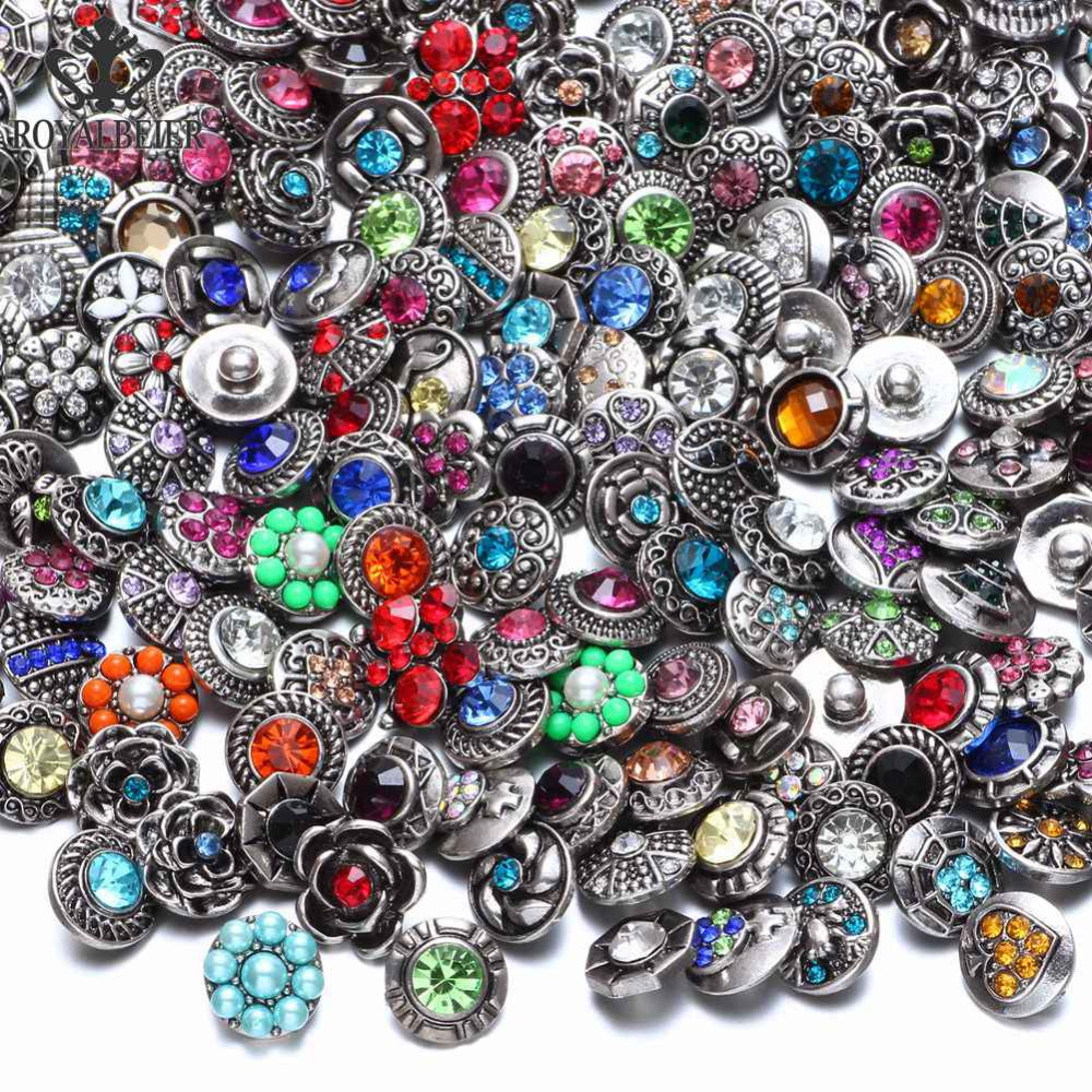 Royalbeier New 36pcs/lot Mixed Rhinestone Styles Metal Charms 12mm Snap Button Jewelry For Snaps Bracelet DIY Snap Jewelry