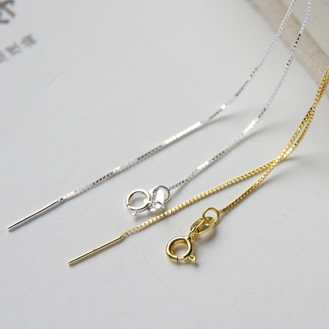 38647677097f9 925 sterling silver box chain Necklace 0.76mm 42 47.5cm 1pc-in ...