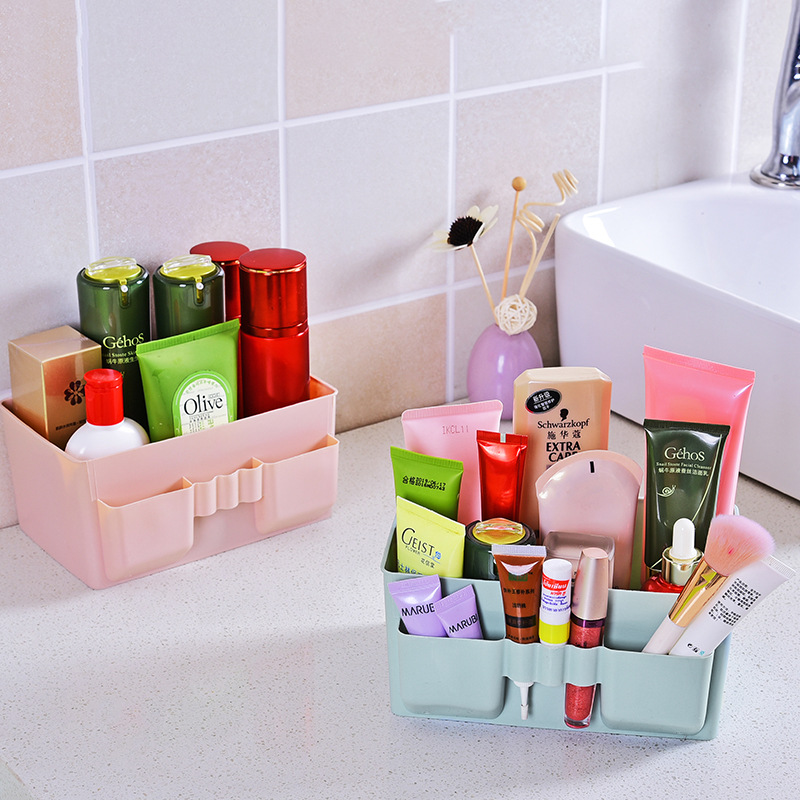 Newest Plastic Desktop Storage Box Women Finishing Makeup Cosmetic Toiletries Organizer Men Home Office Sundries Storage Baskets