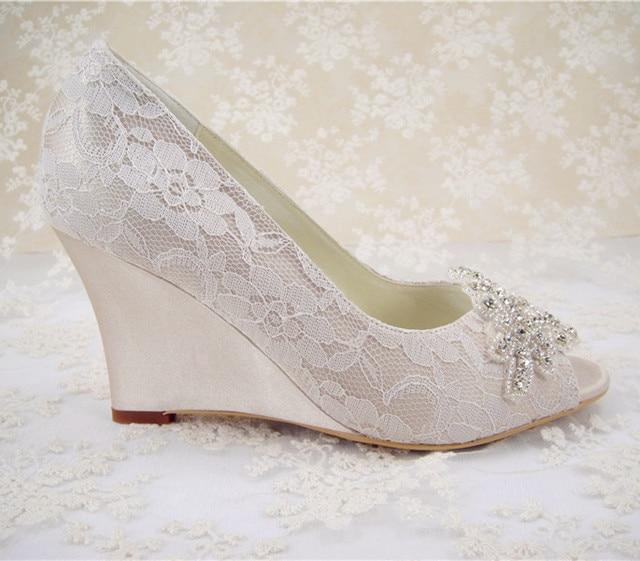 Rhinestones Bridal Shoes Women S Wedding Shoes Wedges