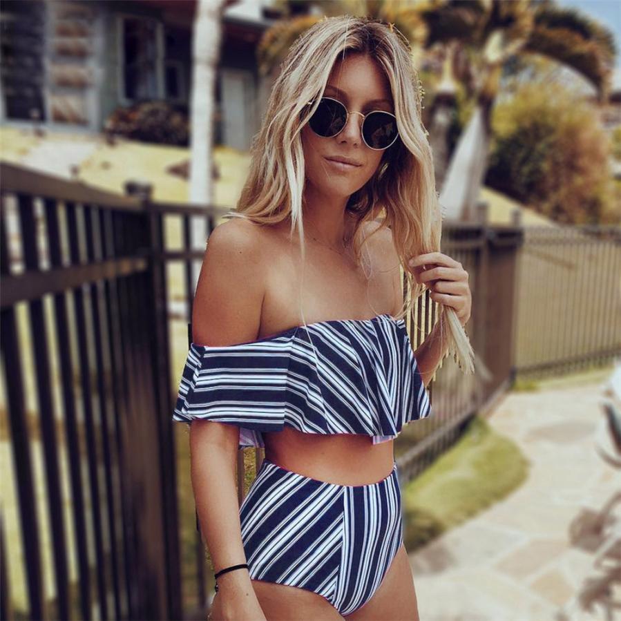 Women Off Shoulder Ruffle Bikini Set Padded Bra Swimsuit Swimwear Bathing Suit swimwear women push up 2018 maio feminino praia