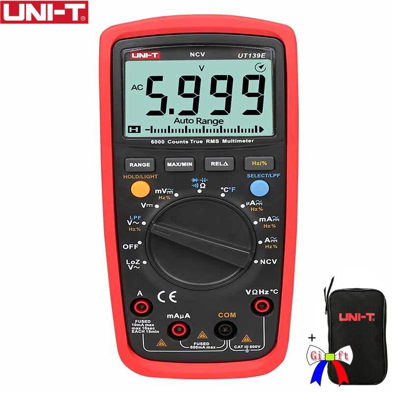 UNI-T UT139E True RMS цифровой мультиметр CAT III 600 В в температура зонд LPF фильтр пропусков LoZ низкое сопротивление вход + черная сумка