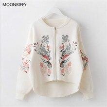 Весенне-осенний свитер для беременных кардиган с вышивкой на молнии свитер-пончо с черными и белыми цветами Пальто Короткое пончо Feminino