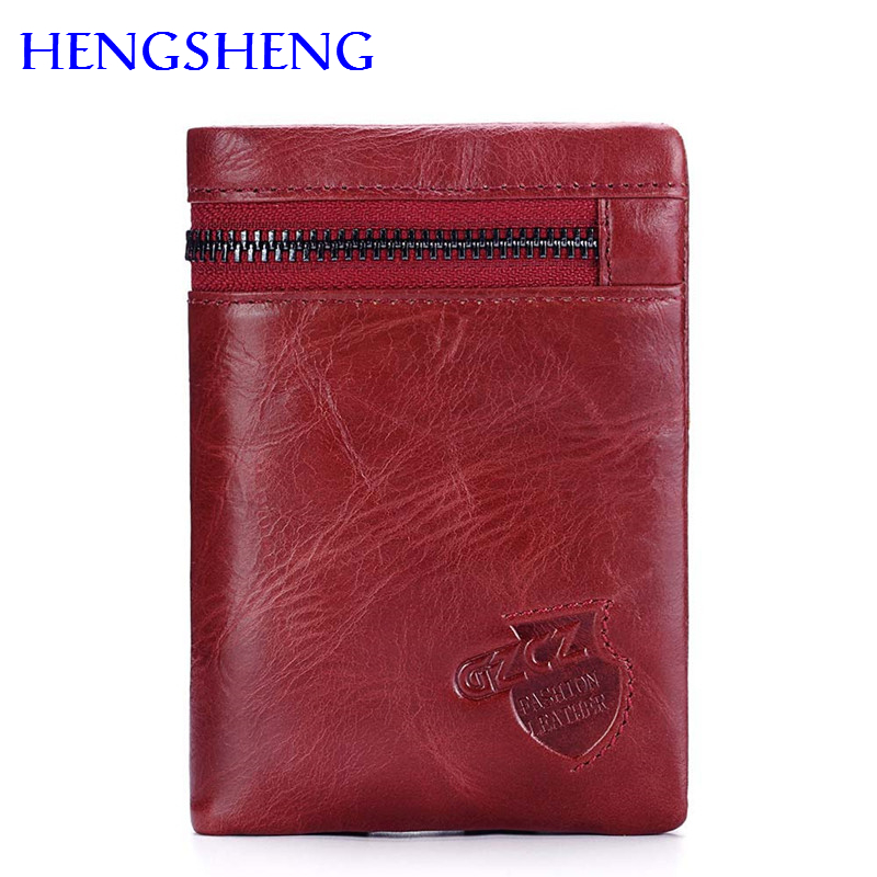 Hengsheng Most Popular Red Women Wallet By 100% Genuine Leather Women Vertical Wallet For Fashion Lady Wallet Men Short Wallet