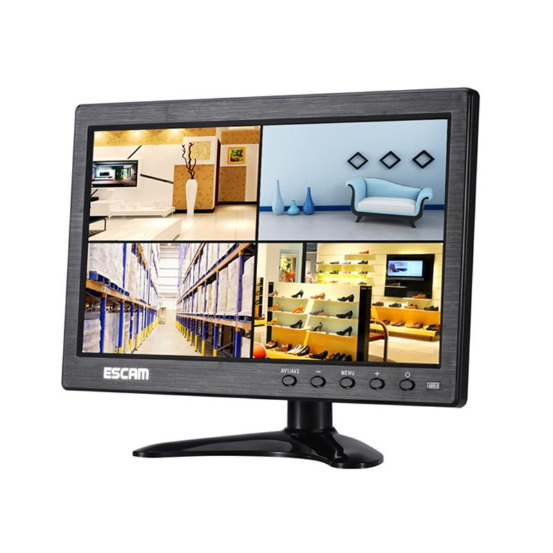 High Quality ESCAM T10 10 inch TFT LCD 1024x600 Monitor with VGA HDMI AV BNC USB for PC CCTV Security Camera FPV Monitor