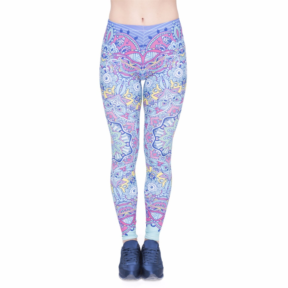 Fashion Women Legging Mandala Fantasy Printing High Waist Bottoms Slim Leggings Fitness Woman Pants