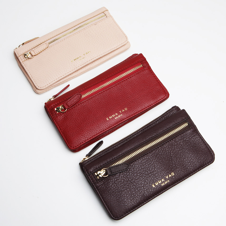 EMMA YAO leather wallet female brand coin purses holders fashion purse