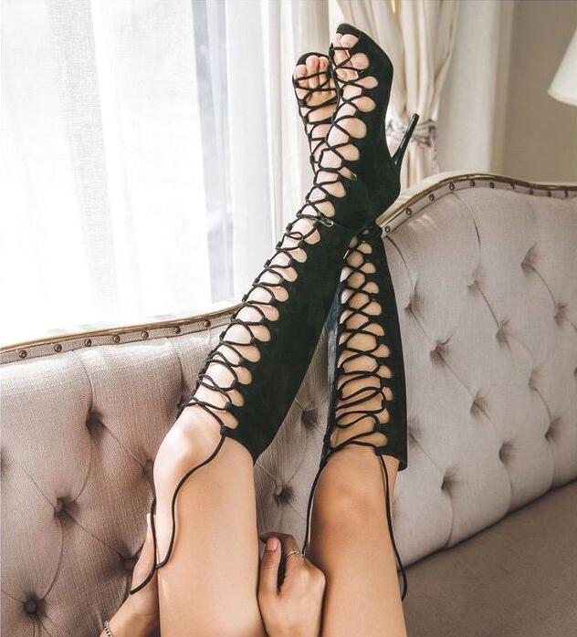 Talon Solide Zip Bottes Genou Femmes Découpe Up Sandales Peep Sexy Noir Été Lace Gladiateur Haute Retour 2017 Choudory Toe Stiletto wZIqxxCAF