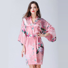 Sexy Silk Satin Wedding Bride Bridesmaid Robe Women Floral Pattern Bathrobe Short Kimono Night Bath Robe Dressing Gown For Women