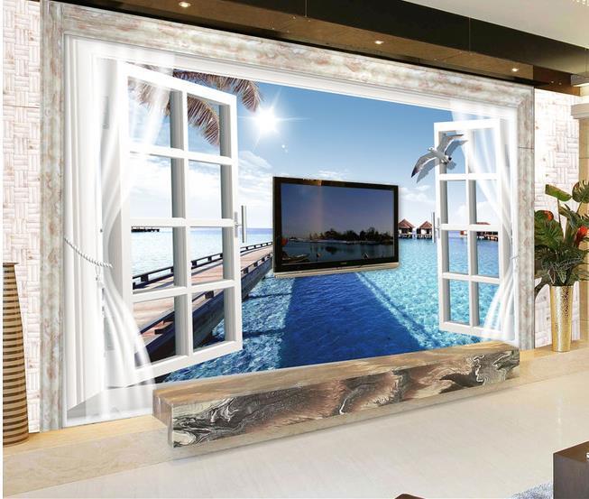 papel de parede hd 3d mode fen tre le murale pour tv mur de toile de fond 3d murale int rieur. Black Bedroom Furniture Sets. Home Design Ideas