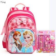 Retour À L'école! Elsa Anna Violetta sacs d'école pour filles enfants de Bande Dessinée fleur Impression Orthopédiques Étanche Étudiant sacs à dos