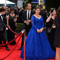 Vestidos de festa custom made royal blue manga comprida a line lace celebridade vestidos no tapete vermelho