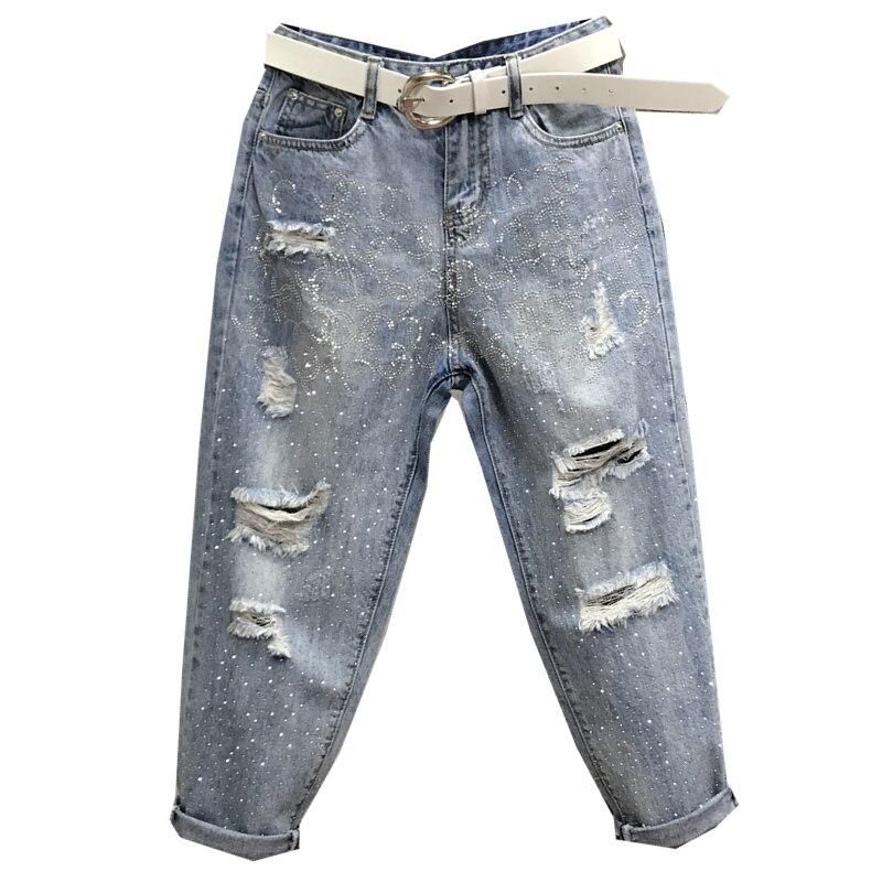 Été nouveau lâche trou jeans femmes forage chaud veau longueur diamant lâche croix pantalon grande taille 26-31!