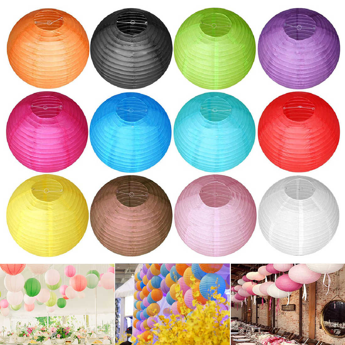 8/12/16 Inch Chinese Papieren Lantaarns Kleurrijke Opknoping Lampion Wishing Papier Lamp Diy Verjaardag Wedding Party Decoratie
