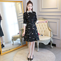 New Arrival Chinese Women Traditional Black Qipao Vintage Flower Cheongsam Sexy Short Dress Female Elegant Dress