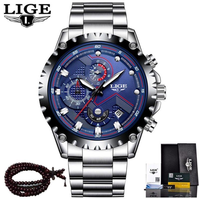 LIGE Watche Men Top Brand Luxury Quartz Watch Men's Casual Steel Leather Clock Men Waterproof Sports Watches Relogio Masculino china watche