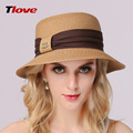 2016 Fashion Lady Straw Sun Hat Women Ladies Summer Beach Panama Wide Brim Sun Cap Foldable Female Outside Hat  B-3141