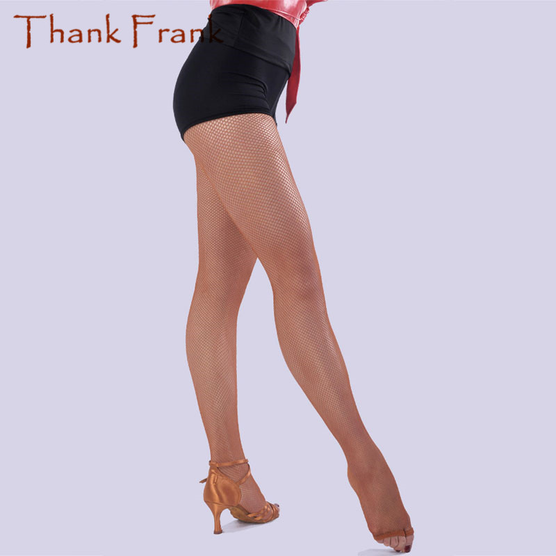 Toeless Latin Fishnet Tights Ballroom Dance Stockings With Gusset Elastic Soft Pantyhose